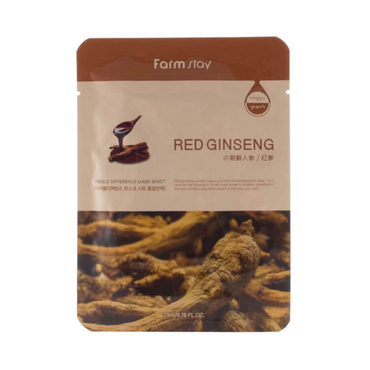 Тканевая маска с красным женьшенем FarmStay Visible Difference Red Ginseng Mask Sheet