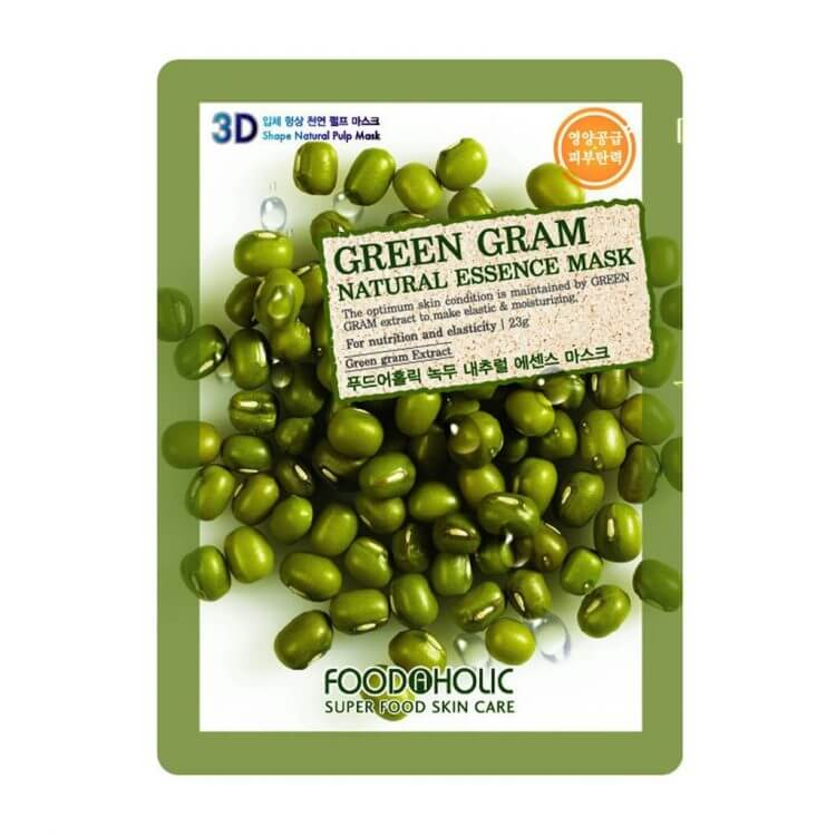 Тканевая маска с машем Food A Holic Green Gram 3D Shape Natural Essence Mask