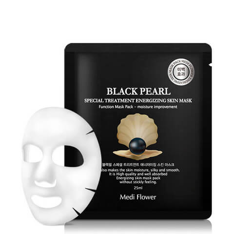 Тканевая маска с черным жемчугом Medi Flower Black Pearl Special Treatment Energizing Skin Mask